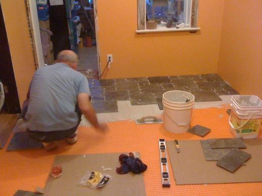 Installing slate tiles