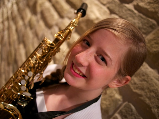 Jordie with her sax - June 9, 2012